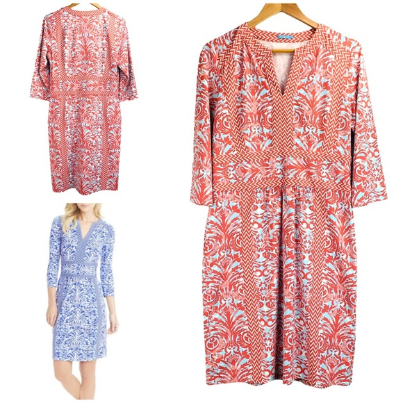J.McLaughlin Lola Dress Catalina Cloth Pink Blue